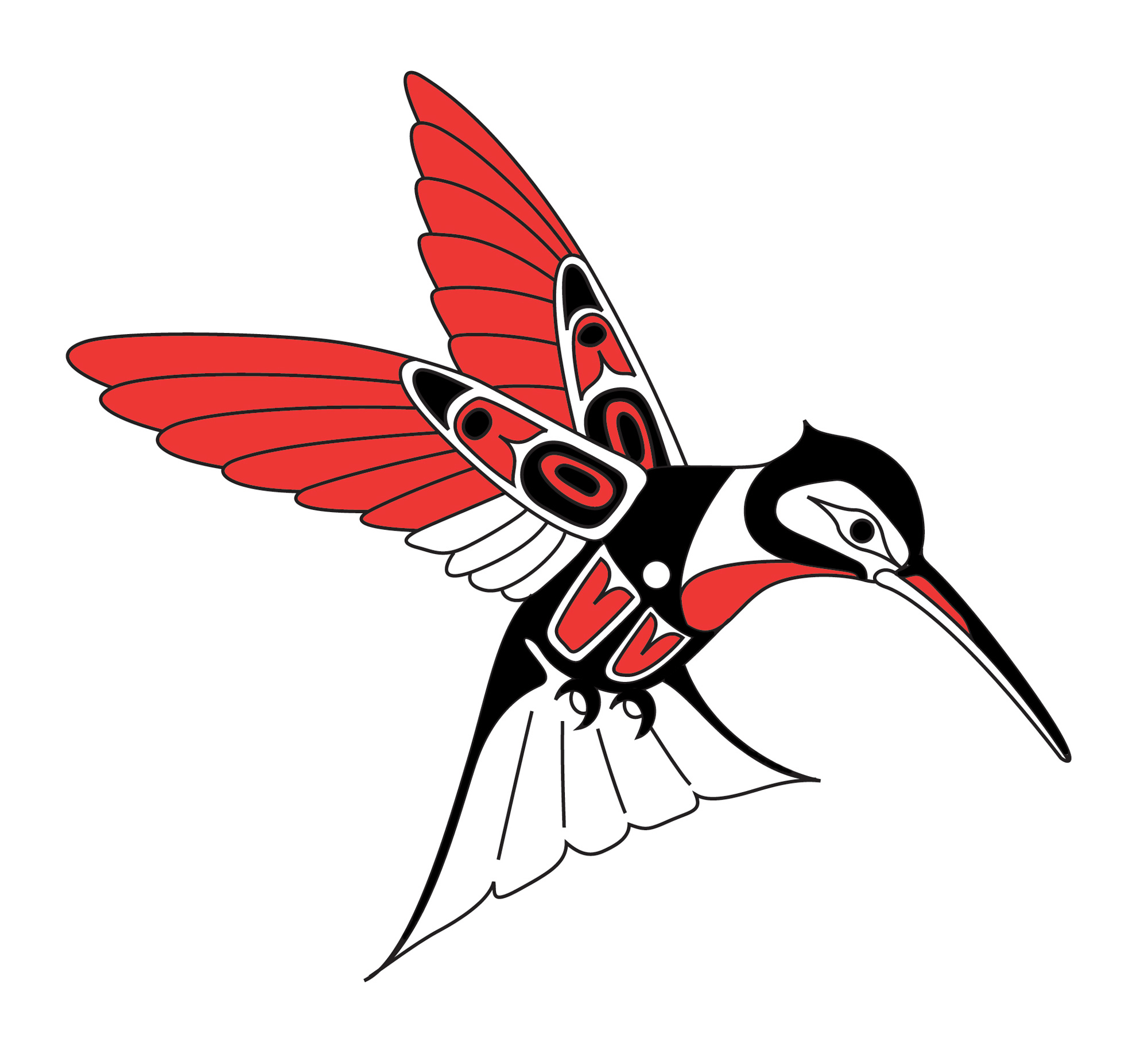 Haida hummingbird tattoo design