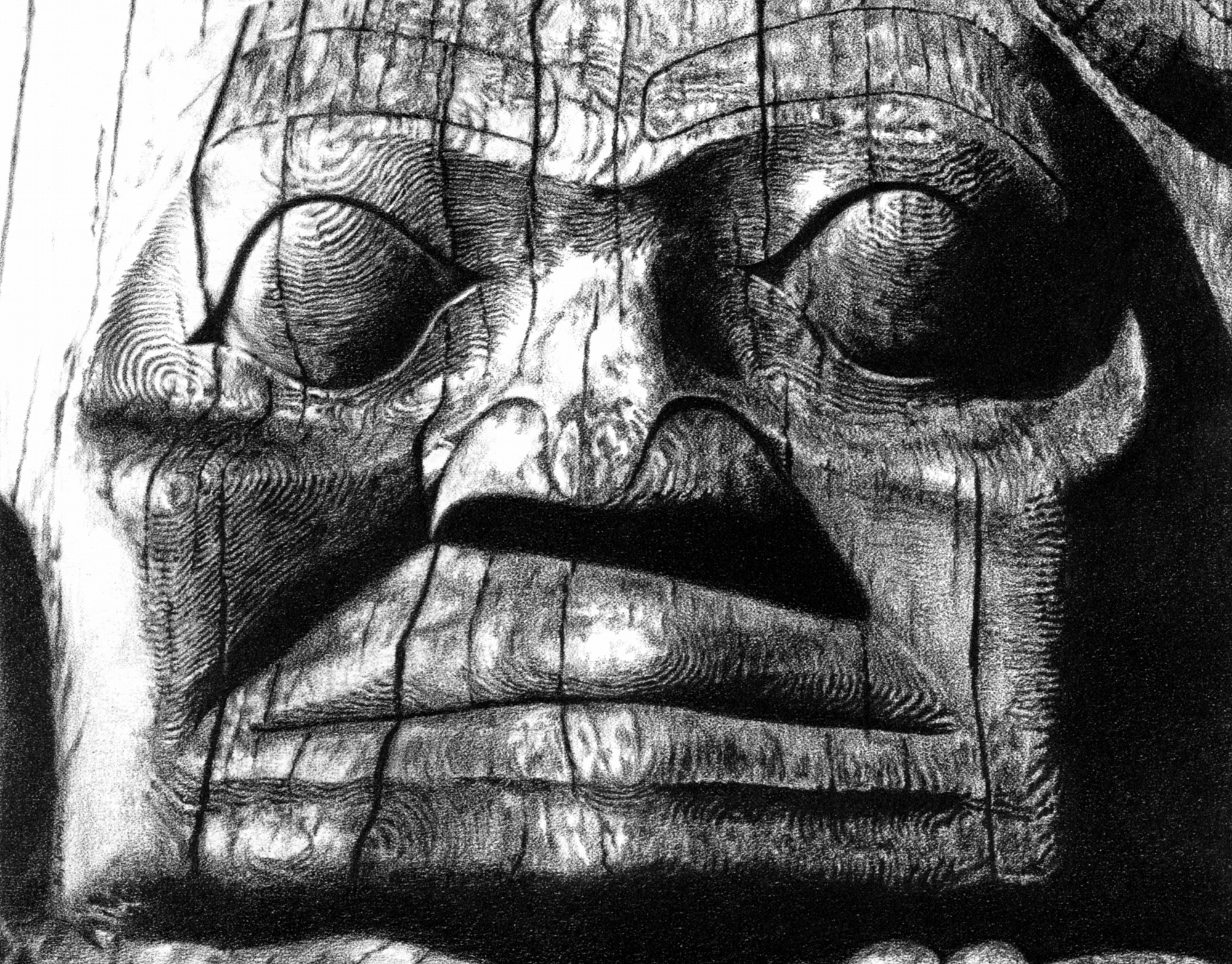 Totem pole face in graphite